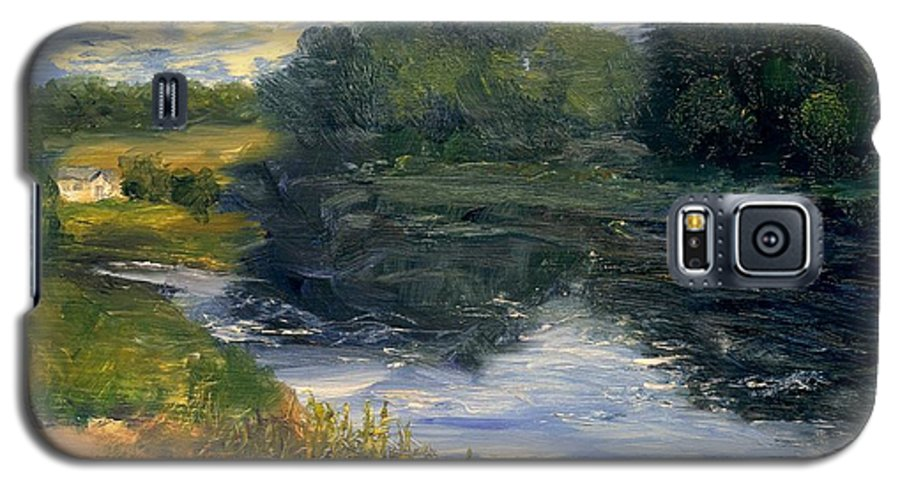 Landscape Galaxy S5 Case featuring the painting Summer At Jackson Lake by Gail Kirtz