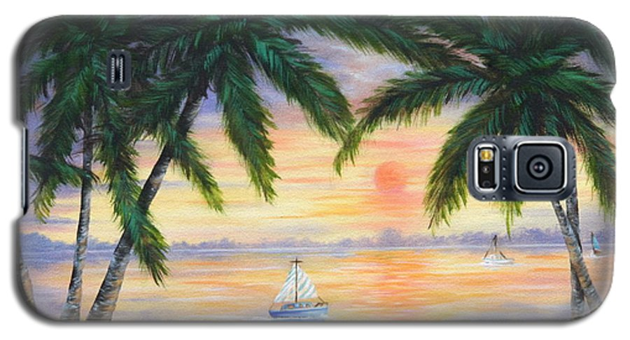 Seascape Galaxy S5 Case featuring the painting Summer Sunset by Ruth Bares