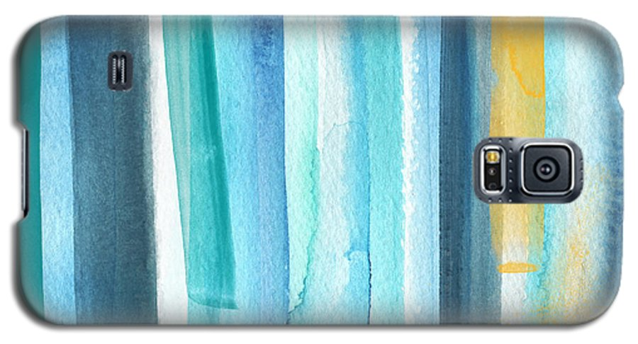 Water Galaxy S5 Case featuring the painting Summer Surf- Abstract Painting by Linda Woods