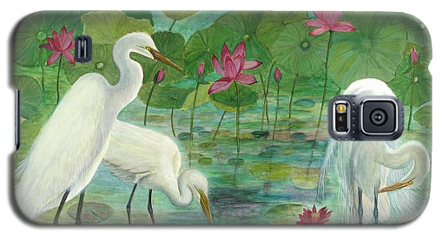 Lily Pads; Egrets; Low Country Galaxy S5 Case featuring the painting Summer Trilogy by Ben Kiger