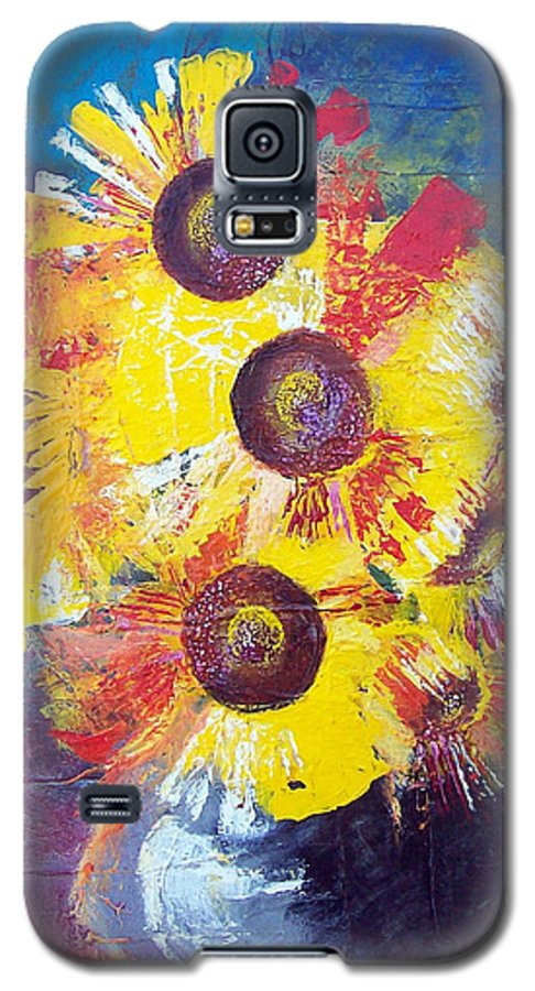 Flowers Galaxy S5 Case featuring the painting Sunflowers In Blue Vase by Valerie Wolf