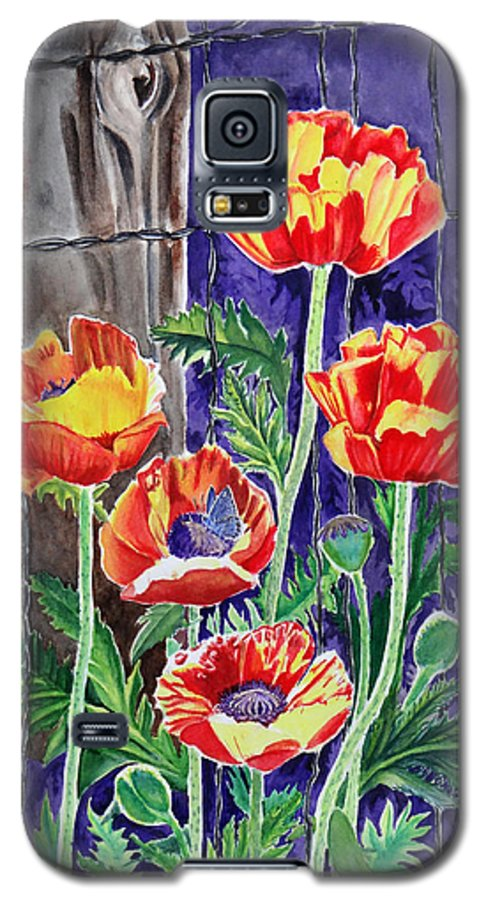 Poppy Galaxy S5 Case featuring the painting Sunlit Poppies by Heather Stinnett