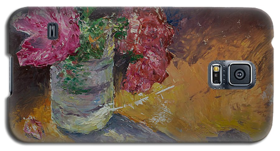 Oil Galaxy S5 Case featuring the painting Sunlit Roses by Horacio Prada