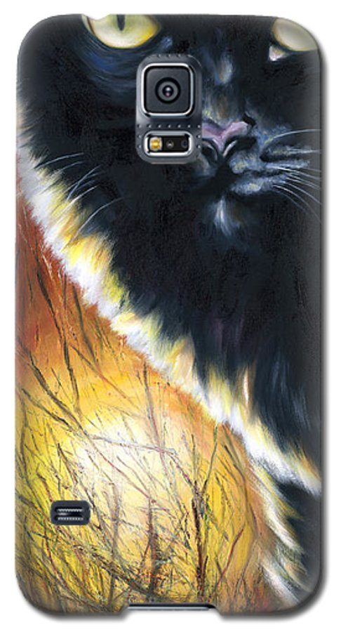 Cat Galaxy S5 Case featuring the painting Sunset by Hiroko Sakai