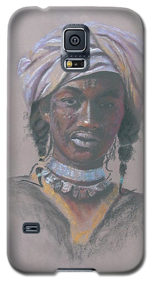 Portrait Galaxy S5 Case featuring the painting Tchad Warrior by Maruska Lebrun