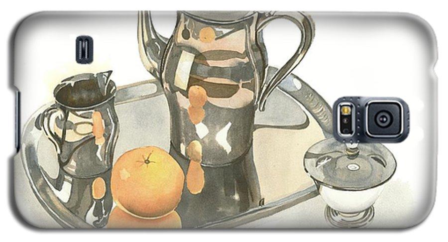 Tea Service With Orange Galaxy S5 Case featuring the painting Tea Service With Orange by Kip DeVore