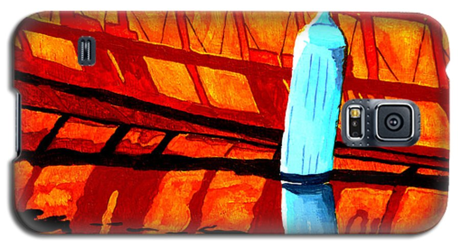 Canoe Galaxy S5 Case featuring the painting The Blue Fender by Anthony Dunphy