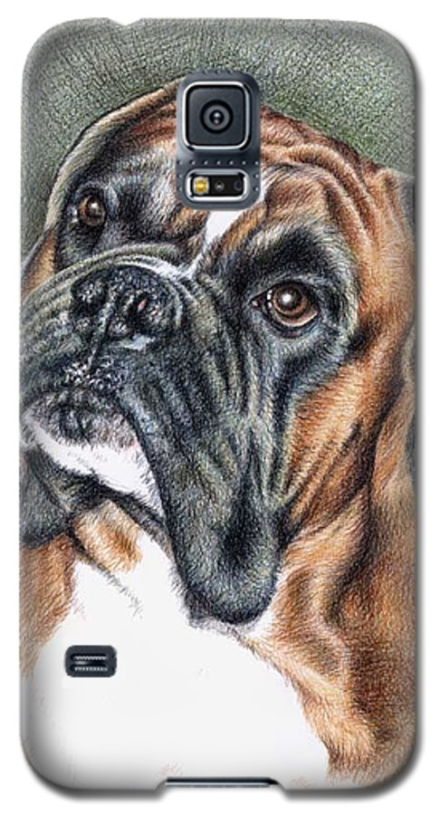 Dog Galaxy S5 Case featuring the drawing The Boxer by Nicole Zeug
