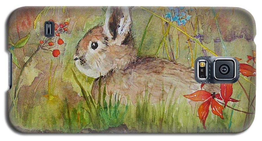 Nature Galaxy S5 Case featuring the painting The Bunny by Mary Ellen Mueller Legault