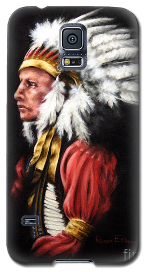 Native American Galaxy S5 Case featuring the pastel The Chief 2 by Karen Elkan