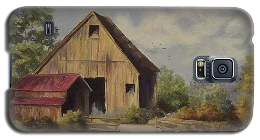 Landscape Galaxy S5 Case featuring the painting The Deserted Barn by Wanda Dansereau