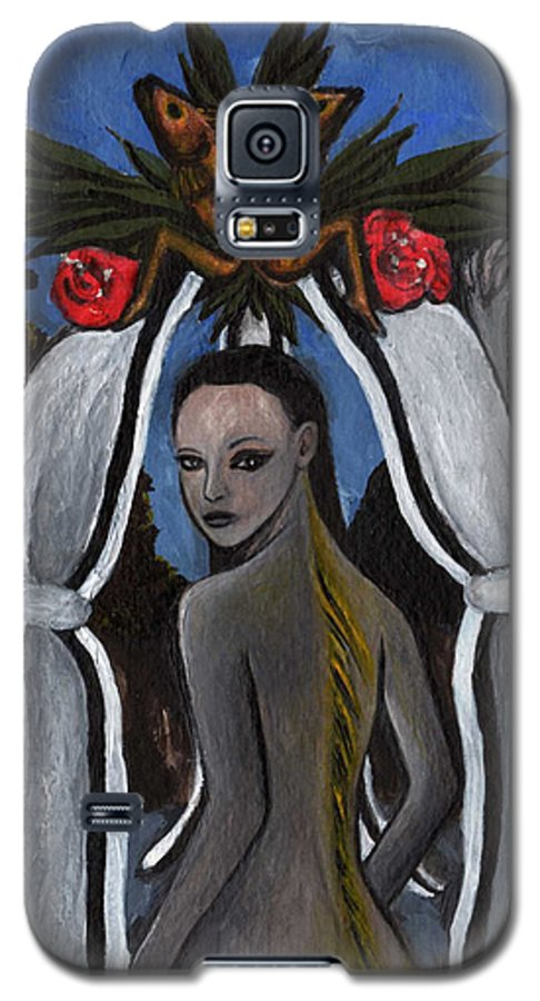 Mermaid Galaxy S5 Case featuring the painting The Fable Of The Fish by Ayka Yasis