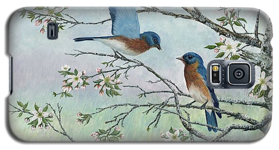 Bluebirds; Trees; Wildlife Galaxy S5 Case featuring the painting The Gift by Ben Kiger