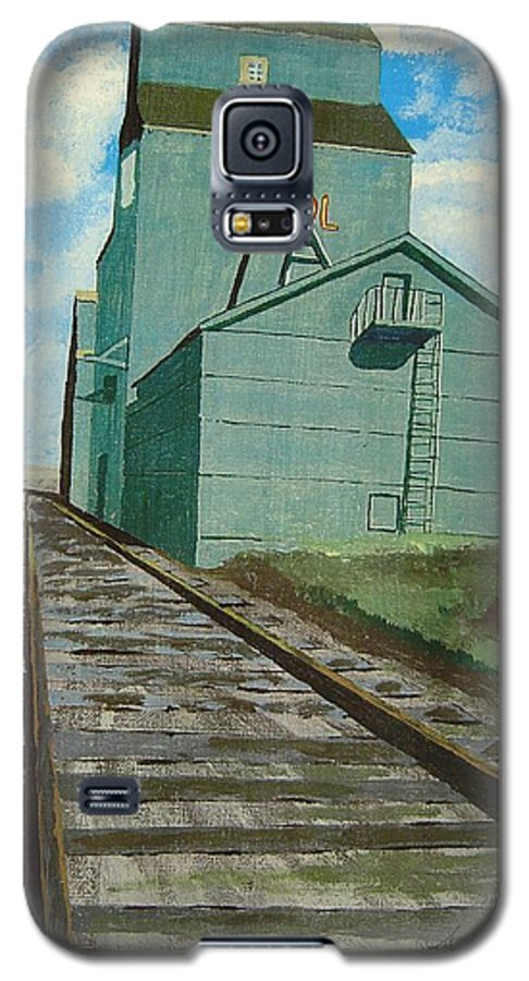 Elevator Galaxy S5 Case featuring the painting The Grain Elevator by Anthony Dunphy