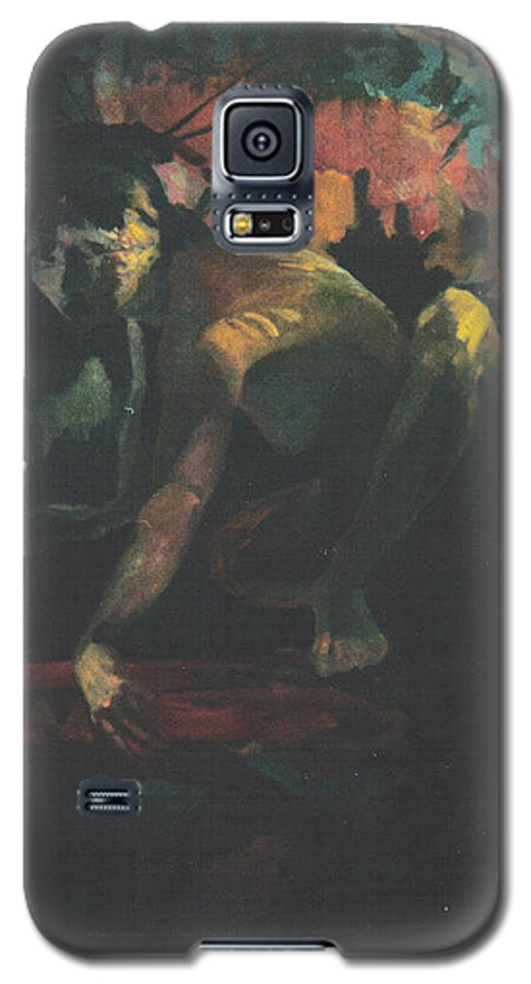 Figure Galaxy S5 Case featuring the painting The Hot Tub by John L Campbell