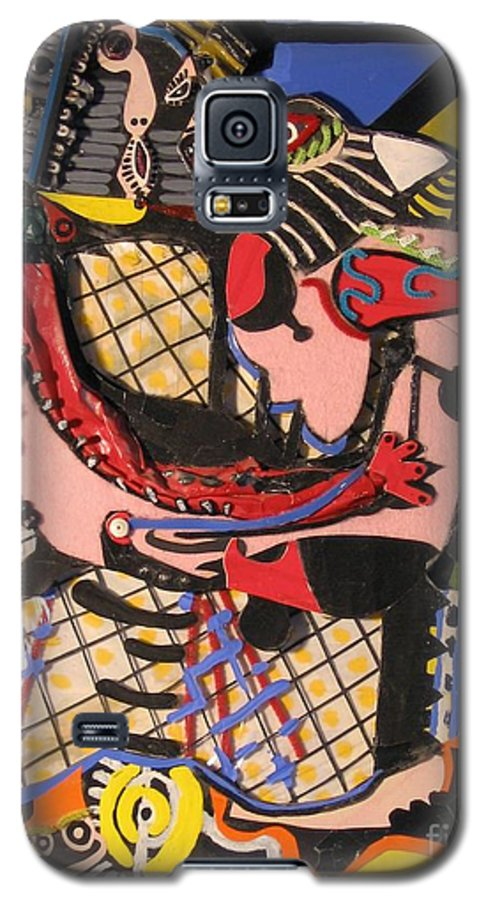 Abstract Galaxy S5 Case featuring the mixed media The Kiss Aka The Embrace After Picasso 1925 by Mack Galixtar