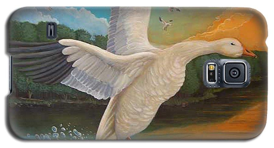 Rick Huotari Galaxy S5 Case featuring the painting The Landing by Rick Huotari