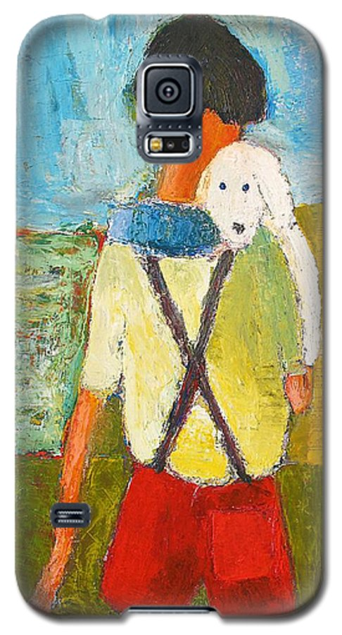 Abstract Galaxy S5 Case featuring the painting The Little Puppy by Habib Ayat