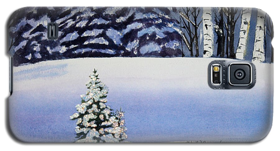 Christmas Galaxy S5 Case featuring the painting The Lone Christmas Tree by Patricia Novack