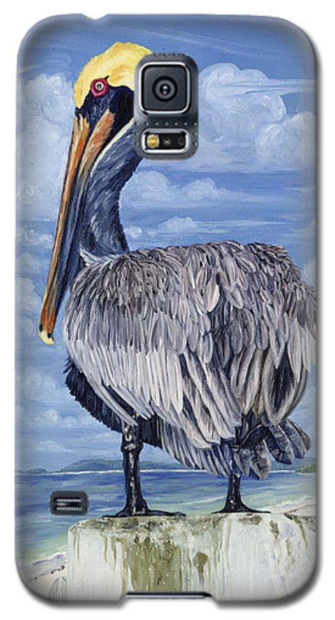 Seascape Galaxy S5 Case featuring the painting The Pelican Perch by Danielle Perry