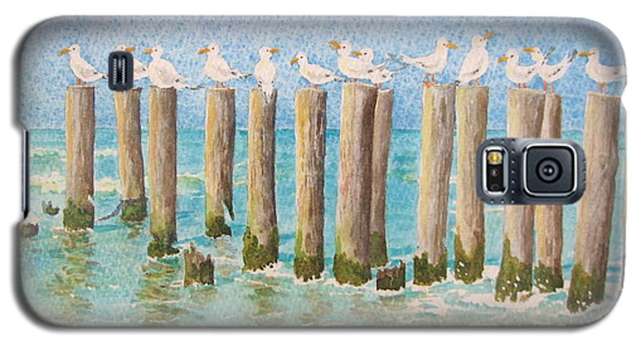 Seagulls Galaxy S5 Case featuring the painting The Town Meeting by Mary Ellen Mueller Legault