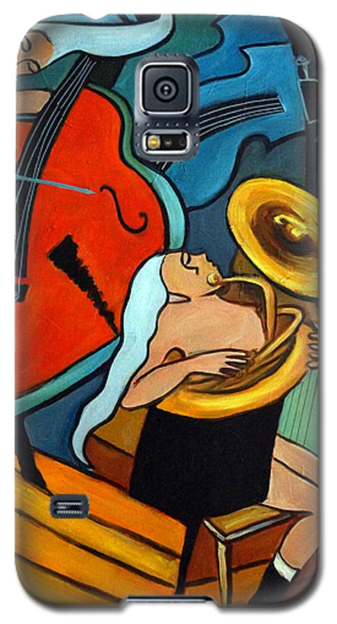 Musician Abstract Galaxy S5 Case featuring the painting The Tuba Player by Valerie Vescovi