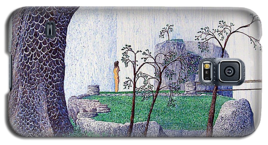 Landscape Galaxy S5 Case featuring the painting The Yearning Tree by A Robert Malcom