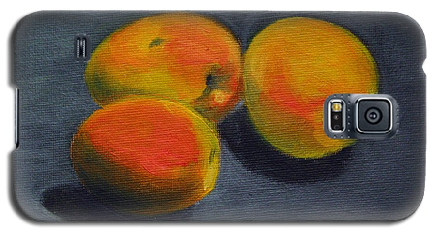 Food Galaxy S5 Case featuring the painting Three Apricots by Sarah Lynch