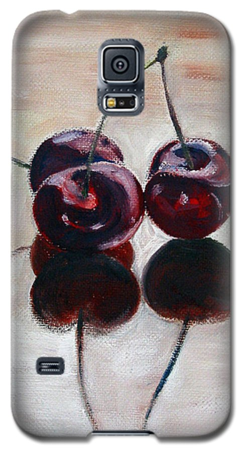 Food Galaxy S5 Case featuring the painting Three Cherries by Sarah Lynch