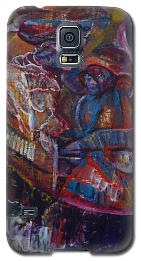 African Women Galaxy S5 Case featuring the painting Tikor Woman by Peggy Blood