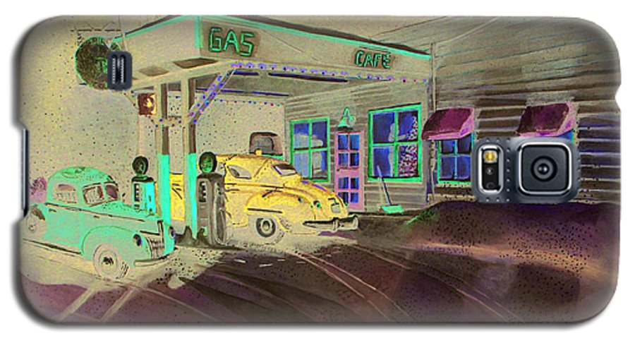 Rick Huotari Galaxy S5 Case featuring the painting Times Past Gas Station by Rick Huotari
