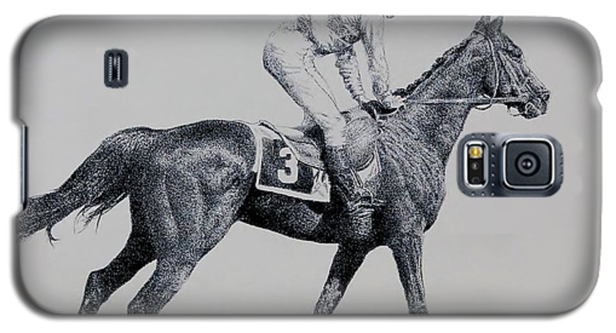 Racehorse Horse Horseracing Thorobreds Jockey Galaxy S5 Case featuring the drawing To The Gate by Tony Ruggiero