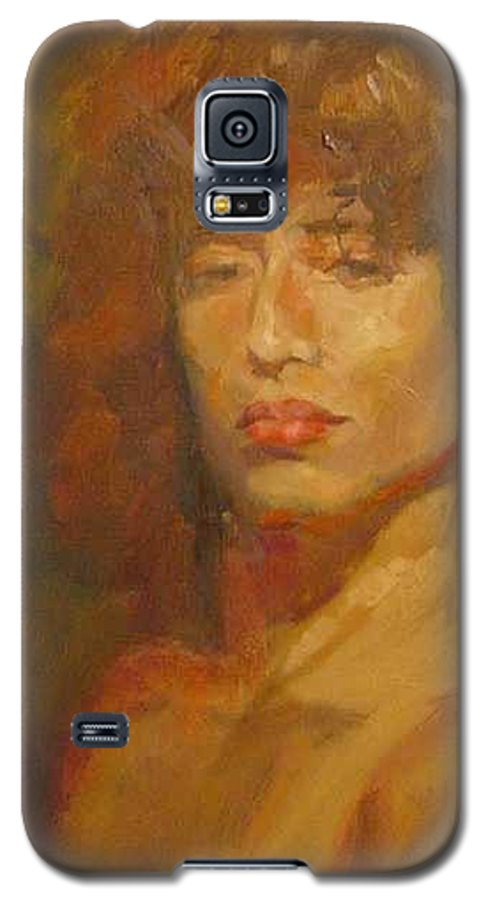 Portrait Galaxy S5 Case featuring the painting Tracy by Irena Jablonski