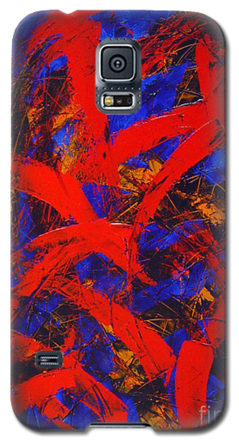 Abstract Galaxy S5 Case featuring the painting Transitions With Blue And Red by Dean Triolo