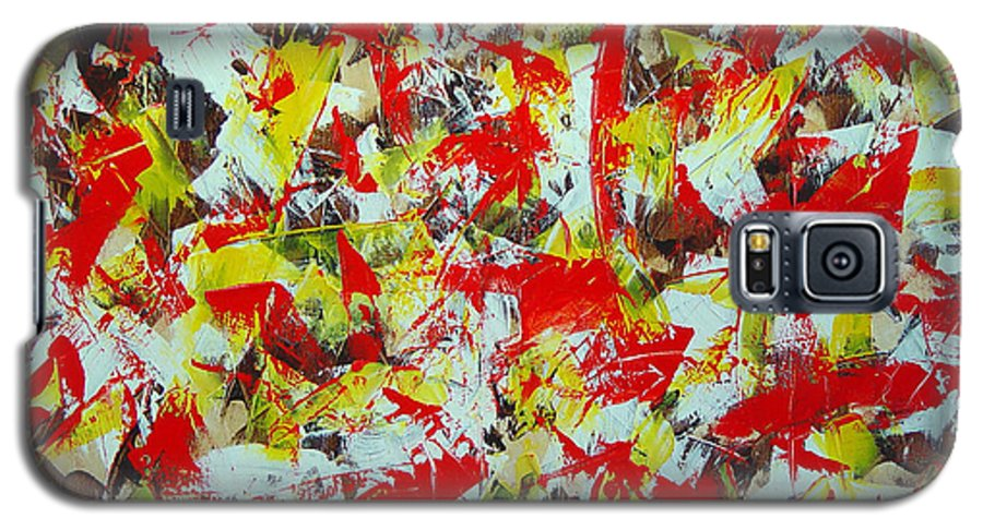 Abstract Galaxy S5 Case featuring the painting Transitions With Yellow Brown And Red by Dean Triolo