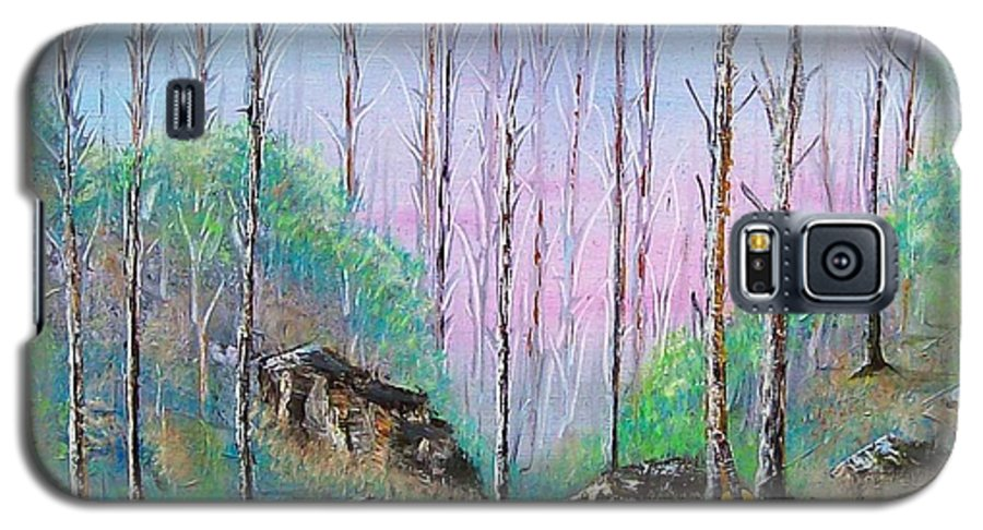 Landscape Galaxy S5 Case featuring the painting Trees With Cuatro by Tony Rodriguez