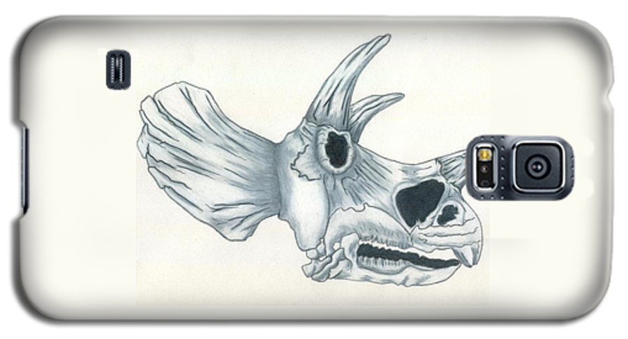 Dinosaur Galaxy S5 Case featuring the drawing Tricerotops Skull by Micah Guenther