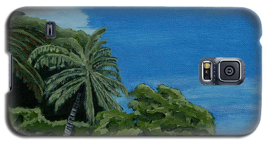 Beach Galaxy S5 Case featuring the painting Tropical Beach by Anthony Dunphy