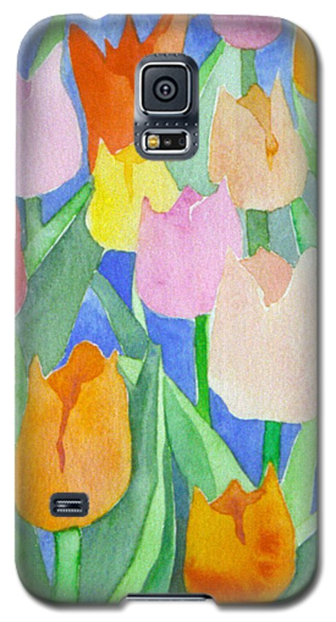 Tulips Galaxy S5 Case featuring the painting Tulips Multicolor by Christina Rahm Galanis