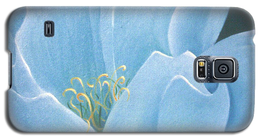 Turquoise Galaxy S5 Case featuring the painting Turquoise Waterlily by Christina Rahm Galanis