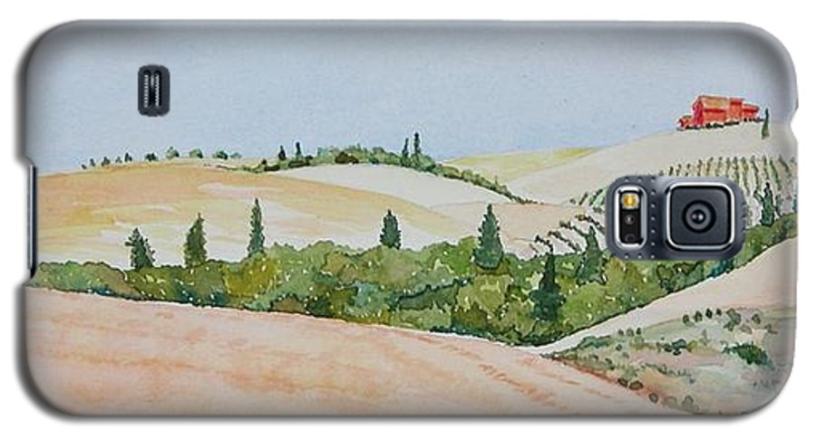 Landscape Galaxy S5 Case featuring the painting Tuscan Hillside One by Mary Ellen Mueller Legault