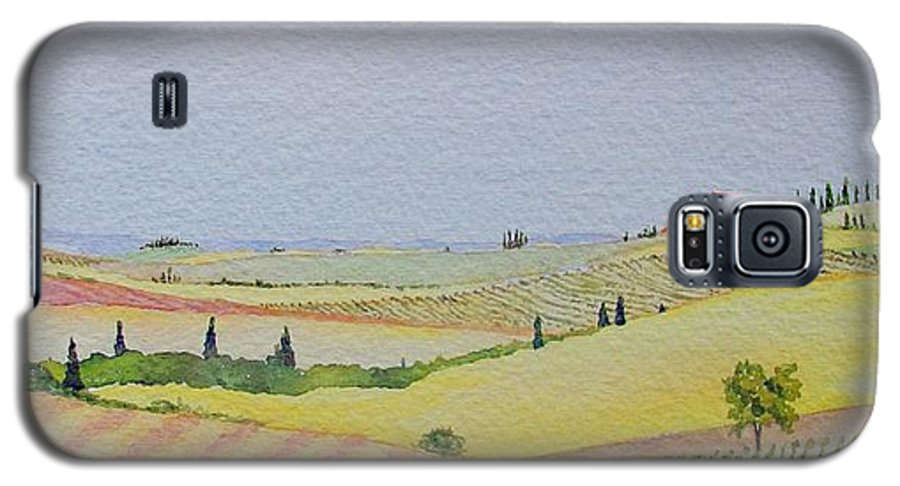 Watercolor Galaxy S5 Case featuring the painting Tuscan Hillside Three by Mary Ellen Mueller Legault
