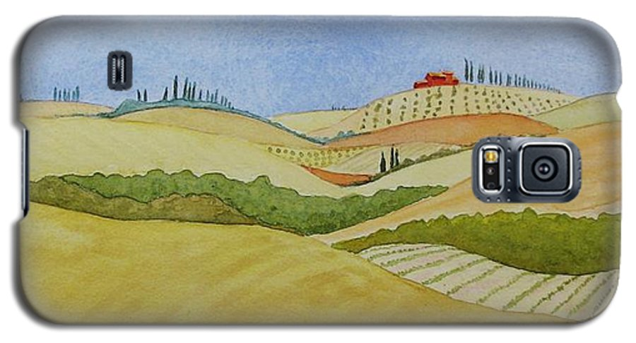 Italy Galaxy S5 Case featuring the painting Tuscan Hillside Two by Mary Ellen Mueller Legault