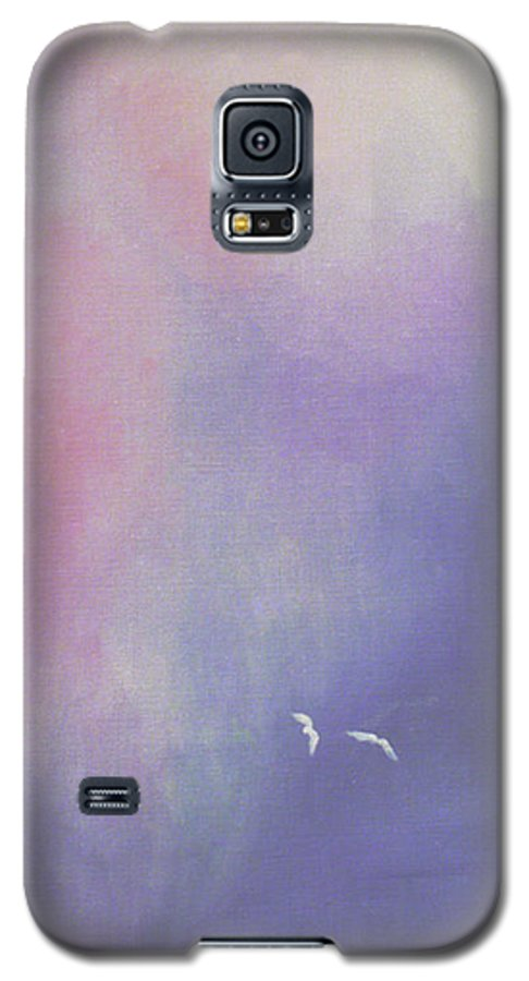 Sky Galaxy S5 Case featuring the painting Two Birds Flying In Ravine. by Christina Rahm Galanis