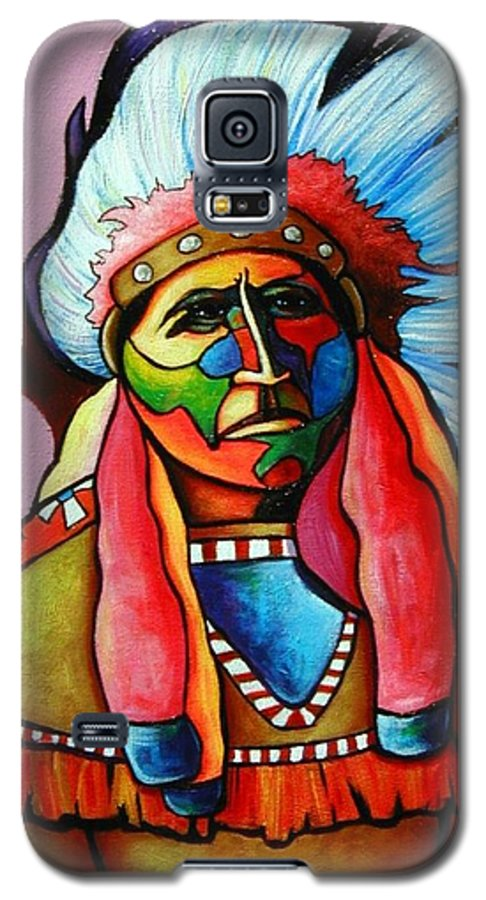 American Indian Galaxy S5 Case featuring the painting Until I'm Breathless by Joe Triano