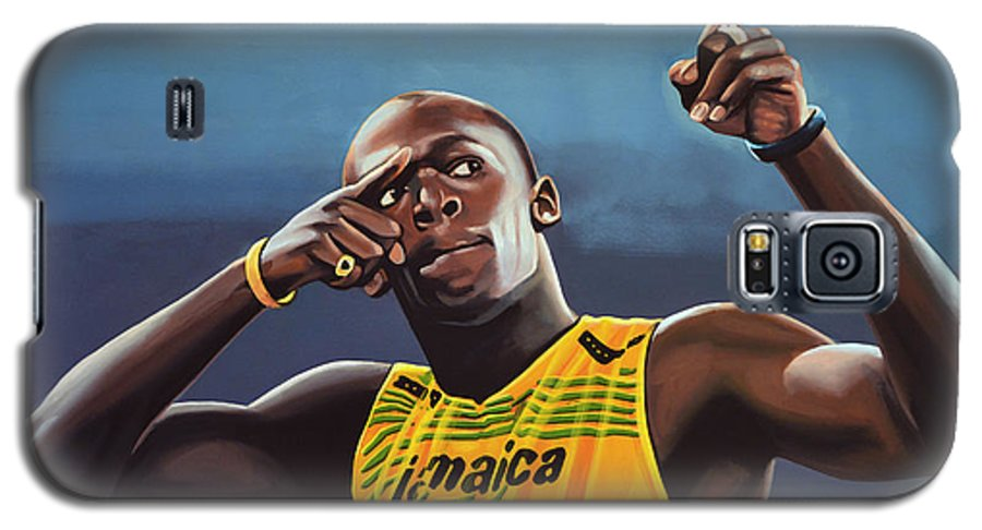 Usain Bolt Galaxy S5 Case featuring the painting Usain Bolt Painting by Paul Meijering