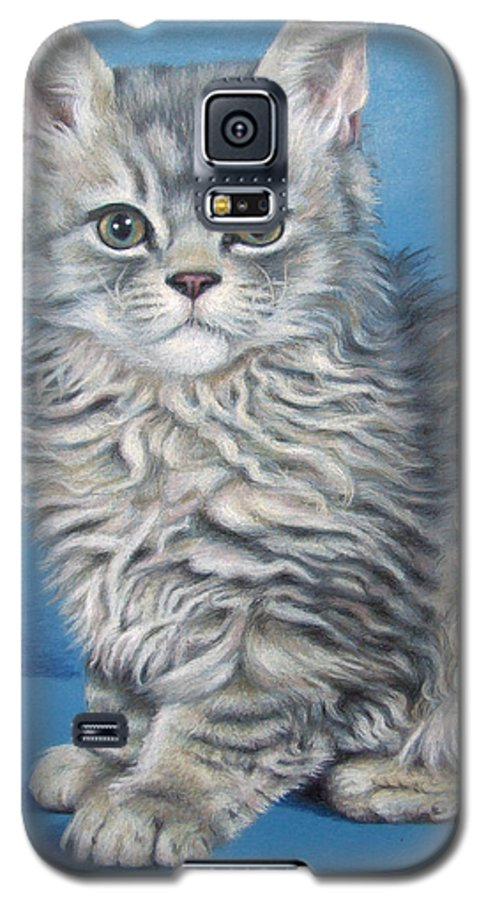 Cat Galaxy S5 Case featuring the drawing Velvet Kitten by Nicole Zeug