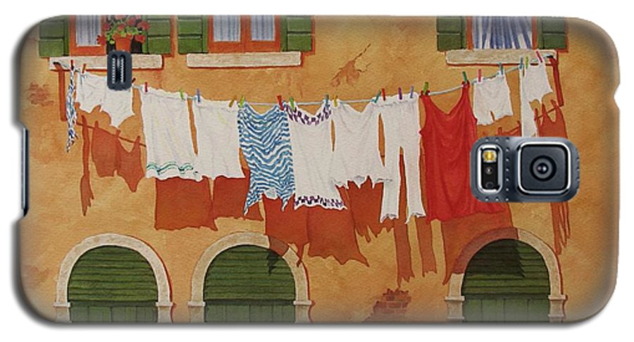 Venice Galaxy S5 Case featuring the painting Venetian Washday by Mary Ellen Mueller Legault
