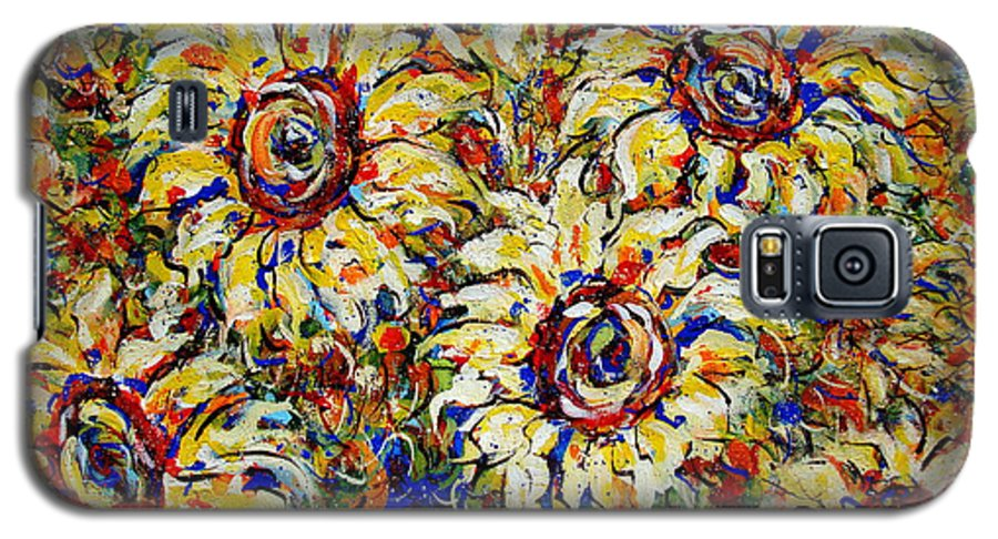 Flowers Galaxy S5 Case featuring the painting Vibrant Sunflower Essence by Natalie Holland