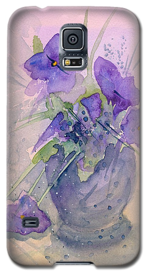 Purple Galaxy S5 Case featuring the painting Violets by Christina Rahm Galanis